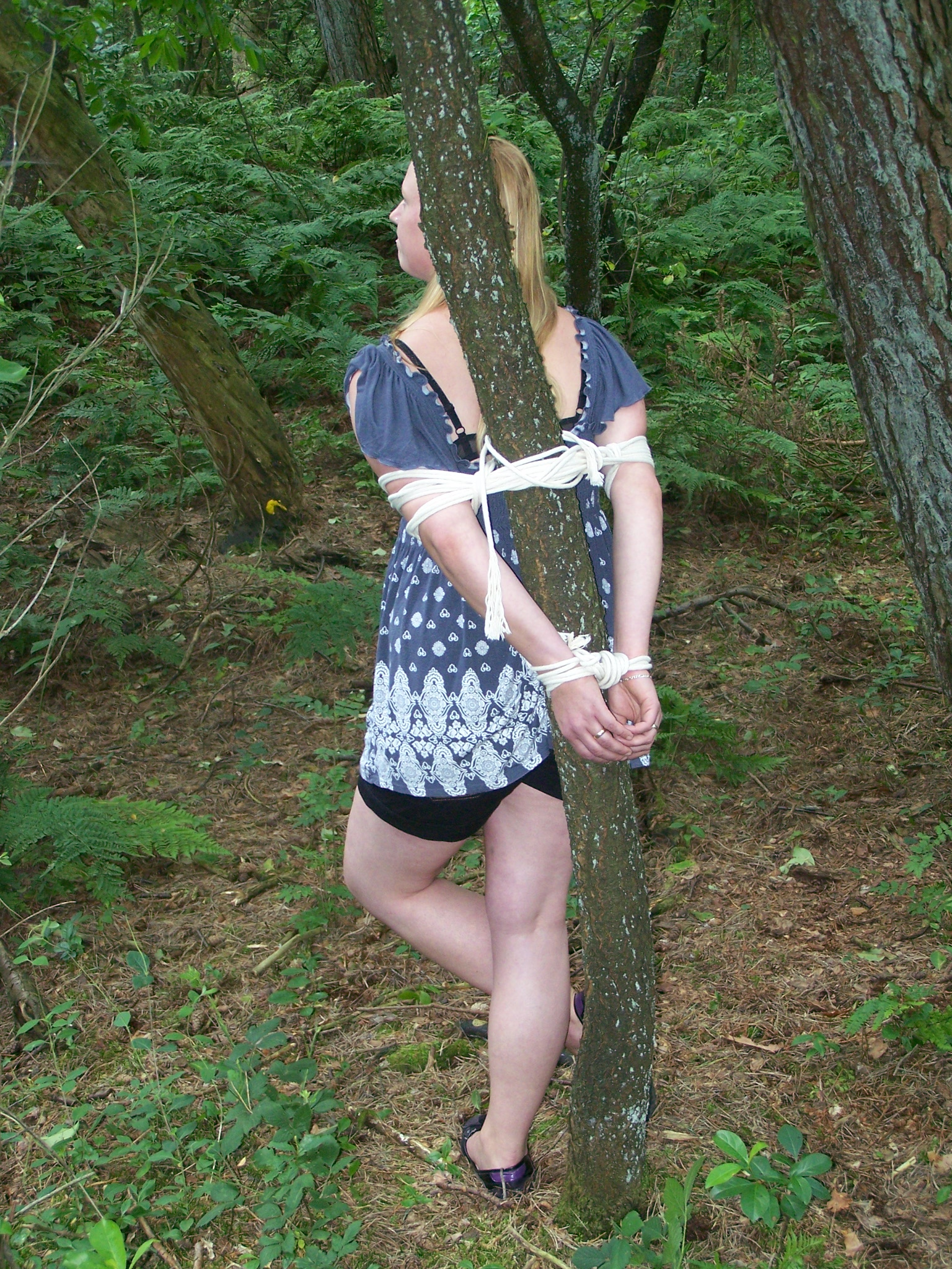 Tied to tree & bound in the forrest - clipspool.com