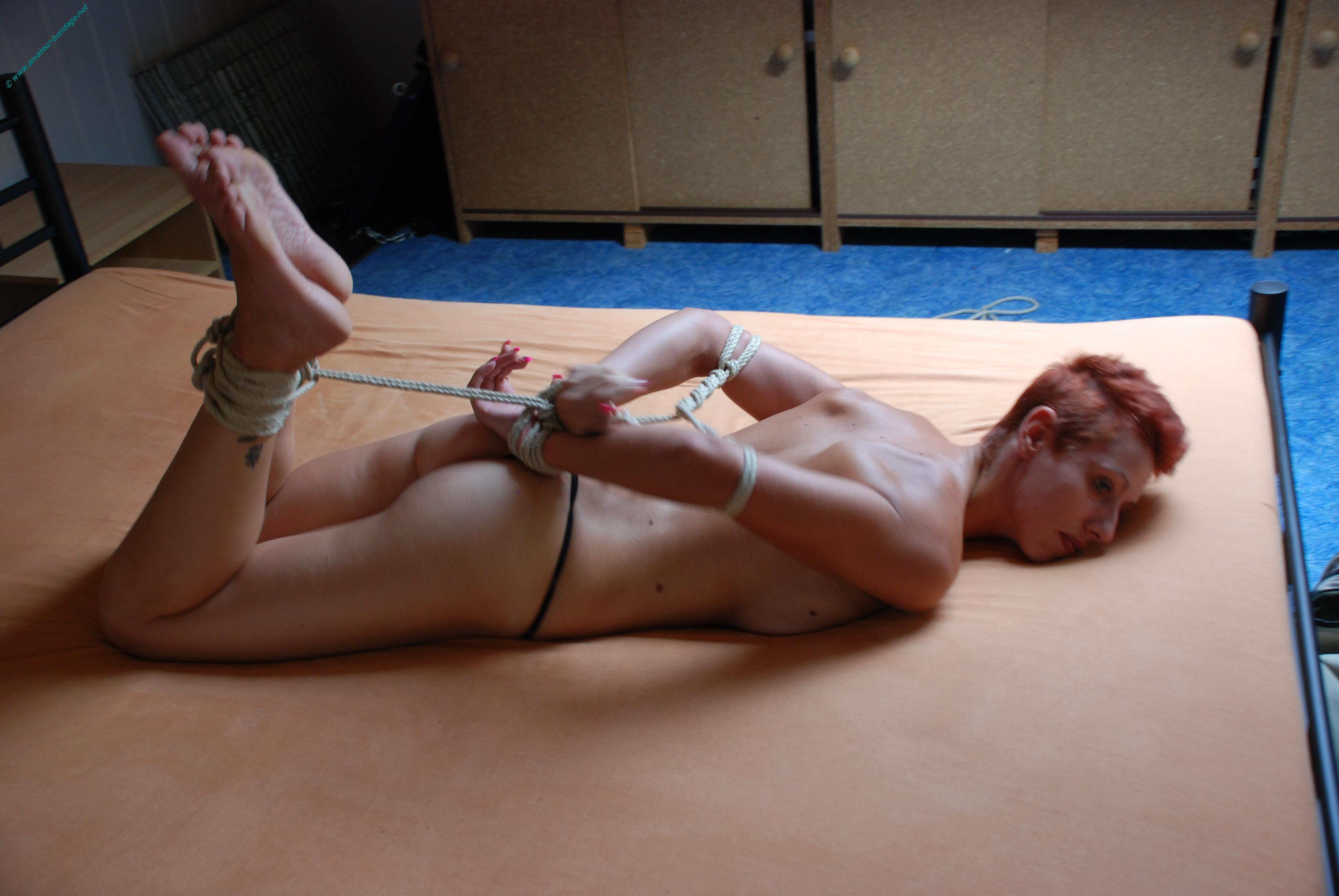 image Amateur bondage and homemade suspension of dominated submissive in restrain